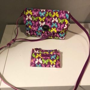 Vera Bradley butterfly purse and wallet